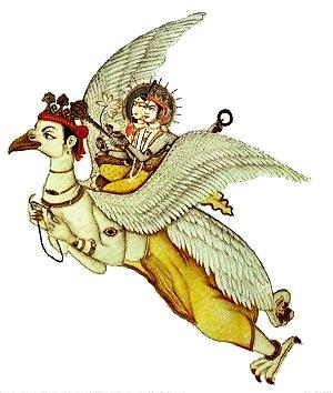 Lord Krishna rides Garuda King of Birds
